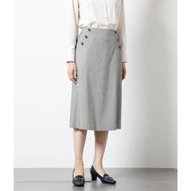 コンパクトチェック トラペーズラインスカート (ダークグリーン)