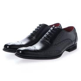 ビジネスシューズ 本革 日本製 靴 メンズシューズ 紳士靴 抗菌 消臭 脚長 フォーマル 冠婚葬祭 ウイングチップ 内羽根 (ブラック)