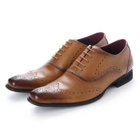 ビジネスシューズ 本革 日本製 靴 メンズシューズ 紳士靴 抗菌 消臭 脚長 フォーマル 冠婚葬祭 ウイングチップ 内羽根 (キャメル)