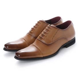ビジネスシューズ 本革 日本製 靴 メンズシューズ 紳士靴 抗菌 消臭 脚長 フォーマル 冠婚葬祭 ストレートチップ 内羽根 (キャメル)
