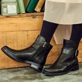 ベルト付きショートブーツ/4377  大きいサイズ(ブラック)