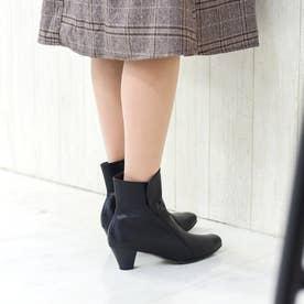 ソフトレザーショートブーツ/4445大きいサイズ&小さいサイズ (ブラック)