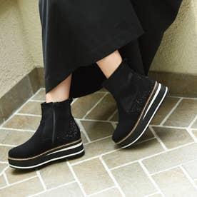 厚底ショートブーツ/951 大きいサイズ(ブラックスエード)
