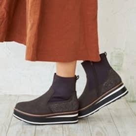 厚底ショートブーツ/951 大きいサイズ(ダークブラウンスエード)