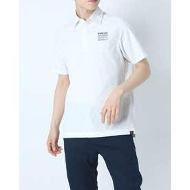メンズ ゴルフ 半袖シャツ シアサッカーメッシュグリンプスロゴタイポグラフィプリント 半袖シャツ 0121168001 (ホワイト)