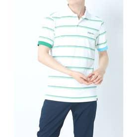 メンズ ゴルフ 半袖シャツ 先染カノコ フェイドネオンボーダー半袖ポロシャツ 0121160010 (ホワイト)