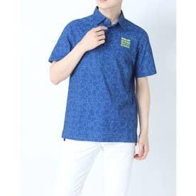 メンズ ゴルフ 半袖シャツ シアサッカーメッシュグリンプスロゴタイポグラフィプリント 半袖シャツ 0121168001 (ブルー)