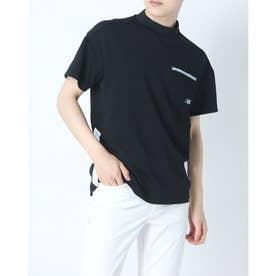 メンズ ゴルフ 半袖シャツ ブロックジャカードダブルフェイス 半袖モックネックプルオーバー 0121166007 (ブラック)