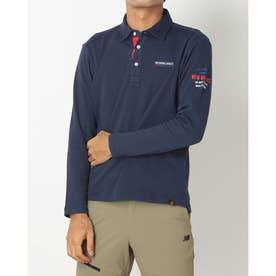 メンズ ゴルフ 長袖シャツ ダブルフェイス裏メッシュ 長袖台衿シャツ 0121269003 (ネイビー)