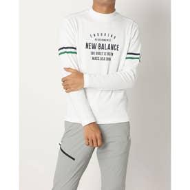 メンズ ゴルフ 長袖シャツ ダブルフェイス裏メッシュ 長袖モックネックプルオーバー 0121267004 (ホワイト)