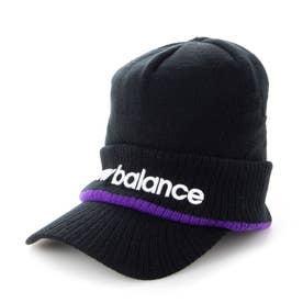 メンズ ゴルフ ニット帽子 BIGロゴジャカード ブリムビーニー 0121287006 (ブラック)