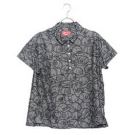 レディース ゴルフ 半袖シャツ ピンボーダージャカード×ヘッドウェアプリントシャツ 0129168506