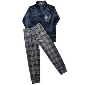 LL)フリーススタンドカラーパジャマ (ネイビー)