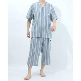 衿無し半袖七分丈パジャマ (ブルー)