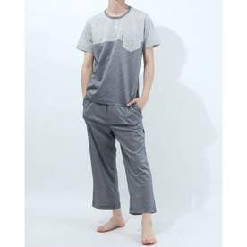 半袖ヘンリーネックパジャマ8分丈パンツ (杢グレー)