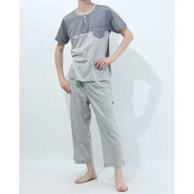 半袖ヘンリーネックパジャマ8分丈パンツ (ネイビー)