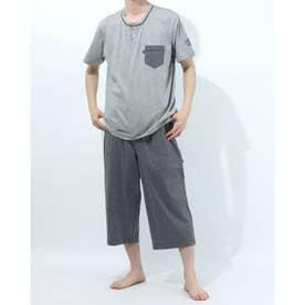 半袖ヘンリーネックパジャマ7分丈パンツ (杢グレー)