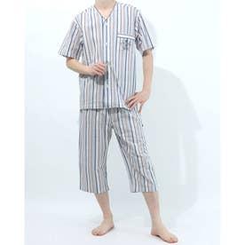 衿無し半袖七分丈パジャマ (杢グレー)