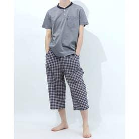 半袖ヘンリーネックパジャマ7分丈パンツ (ネイビー)