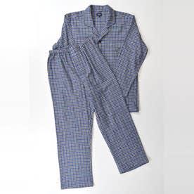 長袖テーラードパジャマ (サックス)