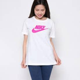 【ピーシーティーP・C・T】コットン100% 鮮やか4カラー♪スウォッシュロゴジャスト丈Tシャツ/ ウィメンズ ロゴ Tシャツ (WHITE)