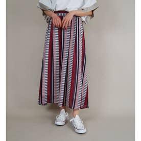 ストライプギャザースカート (01レッド)