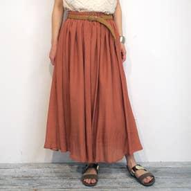 ベルト付きグギャザースカート (10オレンジ)