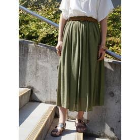 ベルト付きグギャザースカート (46カーキ)
