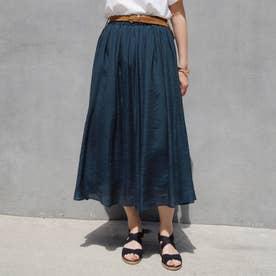 ベルト付きグギャザースカート (67ネイビー)