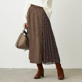 サイドプリーツレイヤード風スカート (13ブラウン)