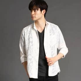 ボタニカルジャカード七分袖シャツ (09ホワイト)