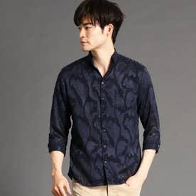 ボタニカルジャカード七分袖シャツ (67ネイビー)