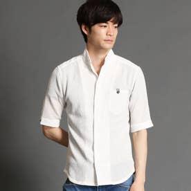 イタリアンカラー5分袖シャツ (09ホワイト)