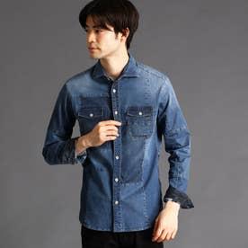 パッチワークデニムシャツ (64サックス)