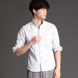 裏ストライプ七分袖シャツ (09ホワイト)