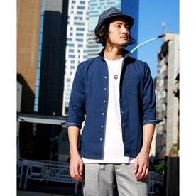 裏ストライプ七分袖シャツ (60ブルー)