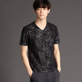 ボタニカルフォイルプリントTシャツ (49ブラック)