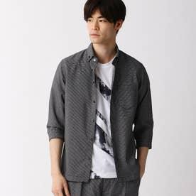 ボタンダウンカラー七分袖シャツ (49ブラック)
