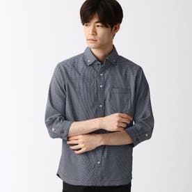 ボタンダウンカラー七分袖シャツ (60ブルー)
