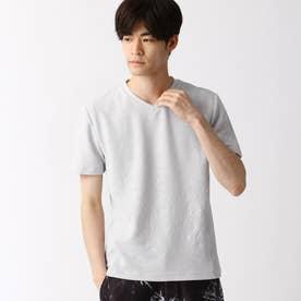ブリスタージャカード柄VネックTシャツ (19ライトグレー)