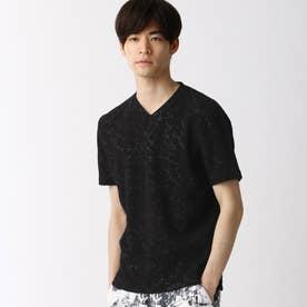 ブリスタージャカード柄VネックTシャツ (49ブラック)