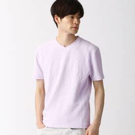 ブリスタージャカード柄VネックTシャツ (88ラベンダー)