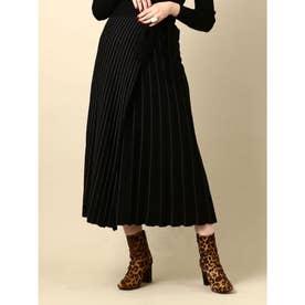 14Gラメニットプリーツスカート (ブラック)