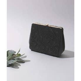3way刺繍レースクラッチバッグ 結婚式 (ブラック) (ブラック)