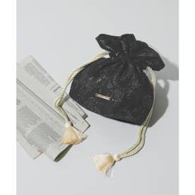 ジャガード巾着2wayパーティーバッグ (ブラック)