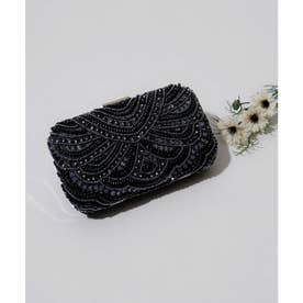 2way ビーズ刺繍ボックスクラッチバッグ (ブラック)