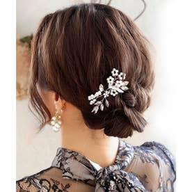 ヘッドドレス ブーケヘアピン /結婚式・お呼ばれヘアアクセサリー (シルバー)