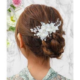 ヘッドドレス フラワー ブーケクリップ /結婚式・お呼ばれヘアアクセサリー (シルバー)