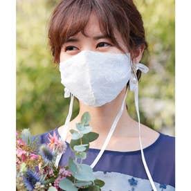 結婚式用 マスク パーティードレスに合う レースリボン付きマスク / 巾着付 【返品不可商品】 (ホワイト)