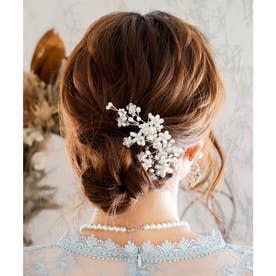 ヘッドドレス フラワー ブーケコーム /結婚式・お呼ばれヘアアクセサリー (シルバー)